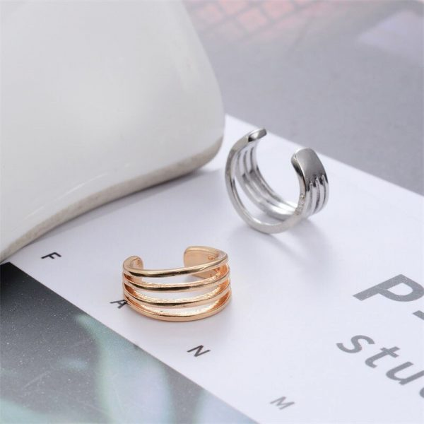 67386 xcsy8l 600x600 - Modyle Earrings for Women Trendy Small Round Ear Cuff Gold and Silver Plated 2 Rows Rhinestone Clip Earrings Without Piercing
