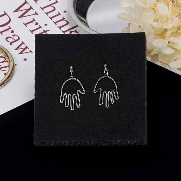 67467 7kbiiw 600x600 - Punk Human Face Drop Earrings For Women Retro Abstract Hollow out Statement Hand Metal Fashion Dangle Earring Jewelry