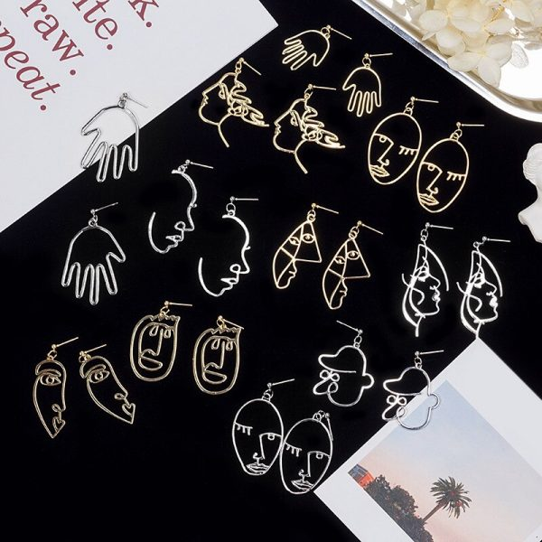 67467 h4lfi7 600x600 - Punk Human Face Drop Earrings For Women Retro Abstract Hollow out Statement Hand Metal Fashion Dangle Earring Jewelry