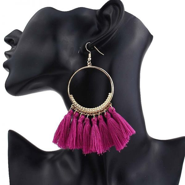67521 f4oa46 600x600 - Vintage Women's Big Statement Tassel Drop Earrings For Girls Round Long Dangle Earring Bohemian 2019 Fashion Jewelry