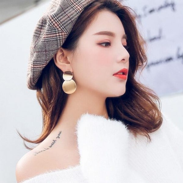 67596 3xlg4s 600x600 - New Korean Women's Fashion Statement Metal Earrings For Women Gold And Silver Color Jewelry Simple Vintage Dangle Drop Earrings