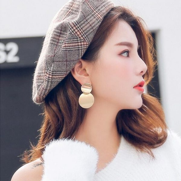 67596 he129m 600x600 - New Korean Women's Fashion Statement Metal Earrings For Women Gold And Silver Color Jewelry Simple Vintage Dangle Drop Earrings