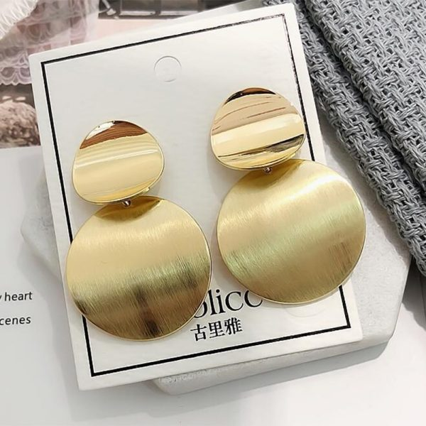 67596 pjmmtn 600x600 - New Korean Women's Fashion Statement Metal Earrings For Women Gold And Silver Color Jewelry Simple Vintage Dangle Drop Earrings