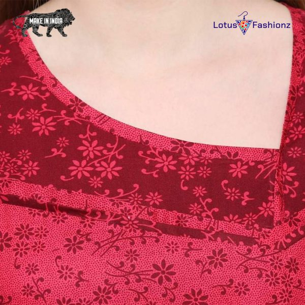 14 1 600x600 - Premium Lotus Print Red Cotton Nighty