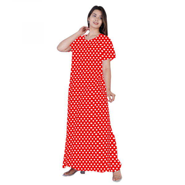red dotted cotton nighty