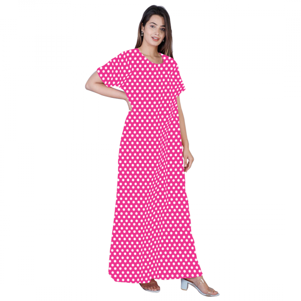 pink dotted cotton nighty
