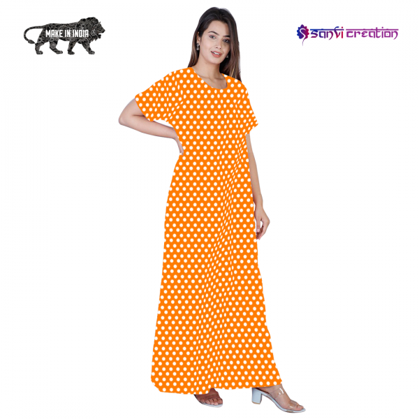 2 2 600x600 - Dots Cotton Tangy Orange Pocket Nighty