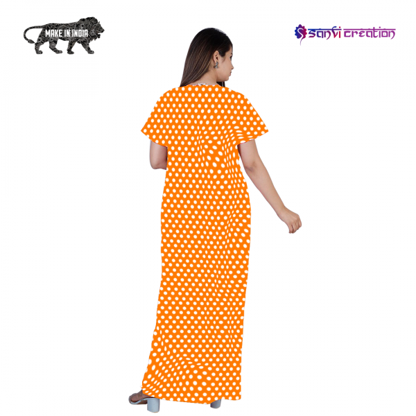 3 600x600 - Dots Cotton Tangy Orange Pocket Nighty