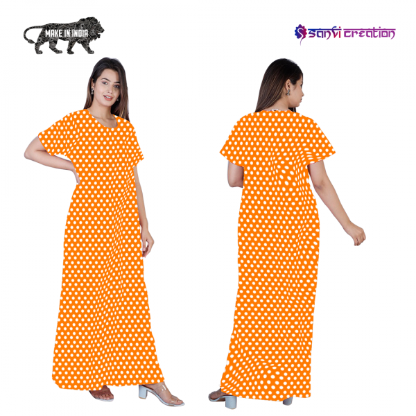4 1 600x600 - Dots Cotton Tangy Orange Pocket Nighty