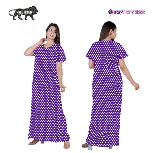 4 600x600 - Dots Cotton Brinjal Purple Pocket Nighty