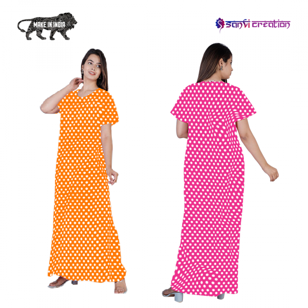 Combo - red and pink cotton nighty