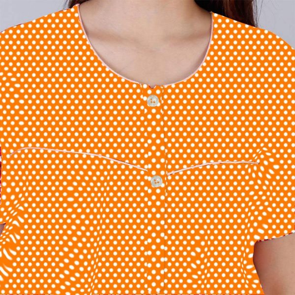 closeup orange cotton nighty 600x600 - Dots Cotton Tangy Orange Pocket Nighty